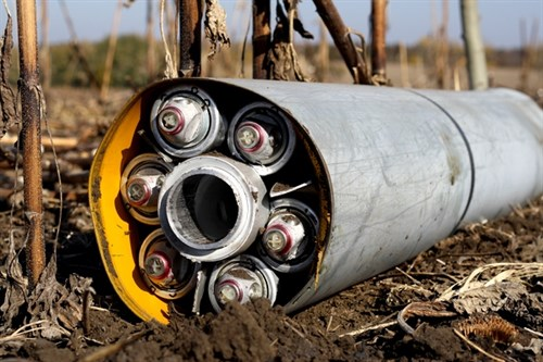 Uragan Cluster Munition Rocket Ukraine HRW 599X399
